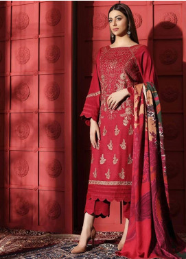 Naranji by Charizma Embroidered Leather Unstitched 3 Piece Suit CRZ20NL 02 Strong Crimson - Winter Collection
