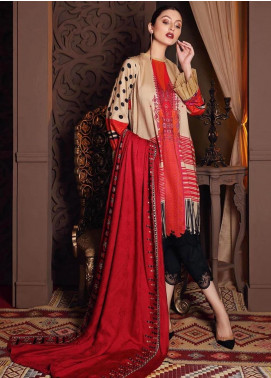 Naranji by Charizma Embroidered Marina Unstitched 3 Piece Suit CRZ20NL 10 Comfy Tan - Winter Collection