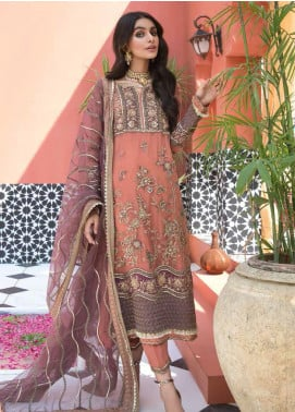 Mehrosh by Charizma Embroidered Chiffon Unstitched 3 Piece Suit CRZ20WE 08 Peach Cosmo - Wedding Collection
