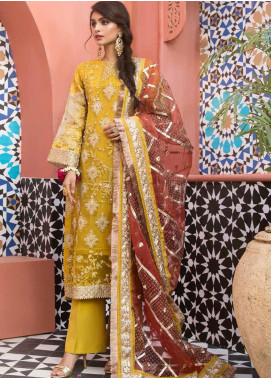Mehrosh by Charizma Embroidered Organza Unstitched 3 Piece Suit CRZ20WE 09 Citrus Zing - Wedding Collection