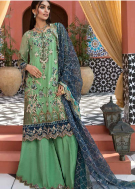 Mehrosh by Charizma Embroidered Chiffon Unstitched 3 Piece Suit CRZ20WE 11 Crushed Sage - Wedding Collection