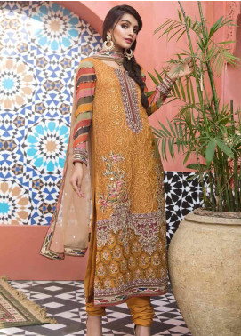 Mehrosh by Charizma Embroidered Chiffon Unstitched 3 Piece Suit CRZ20WE 13 Gold Beam - Wedding Collection