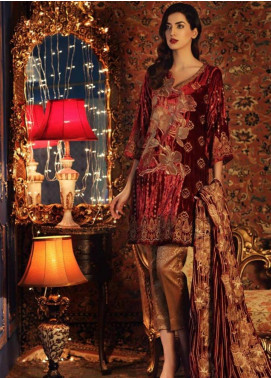Charizma Embroidered Velvet Unstitched 3 Piece Suit CRZ19V 08 - Winter Collection