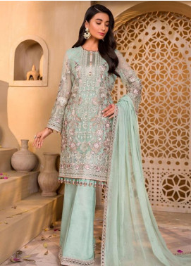 Chashme Baddoor by Flossie Embroidered Chiffon Unstitched 3 Piece Suit FL20CB 609 Nile Mist - Luxury Formal Collection