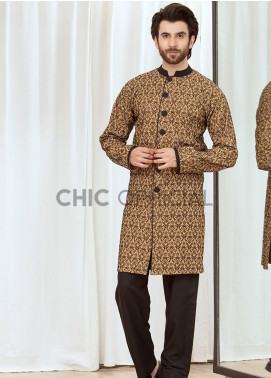 Chic Ophicial Cotton Fancy Kameez Shalwar for Men -  Brown Block Sherwani