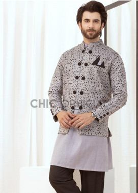 Chic Ophicial Cotton Fancy Men 3 Piece -  Grey Trignometry