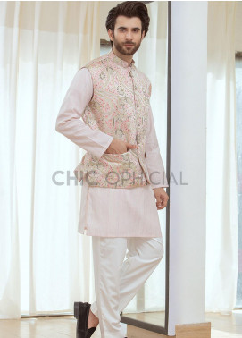 Chic Ophicial Cotton Fancy 3 Piece for Men - Pink abstract