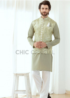 Chic Ophicial Wash N Wear Fancy Men 3 Piece - Sage Green