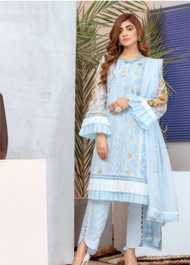Chic Ophicial Embroidered Chiffon Stitched 3 Piece Suit Blue Frills