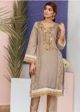Chic Ophicial Embroidered Cotton Silk Stitched 3 Piece Suit Golden Brown Blockprint