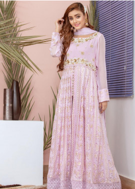 Chic Ophicial Embroidered Chiffon Stitched 3 Piece Suit Lavender Blossom