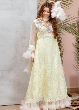 Chic Ophicial Embroidered Organza Stitched 3 Piece Suit Marshmallow