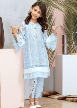 Chic Ophicial Chiffon Fancy 2 Piece Suit for Girls -  Mini Blue Frills