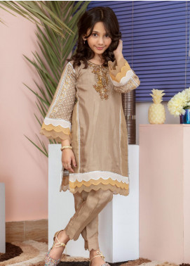 Chic Ophicial Cotton Silk Fancy Girls 2 Piece Suit -  Mini Golden brown Blockprint