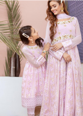 Chic Ophicial Chiffon Fancy 2 Piece Suit for Girls -  Mini Lavender Blossom