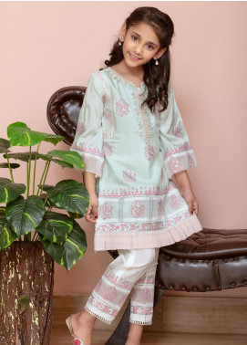 Chic Ophicial Cotton Silk Fancy Girls 2 Piece Suit -  Mini Mintgreen Blockprint