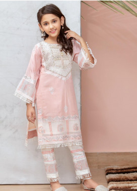 Chic Ophicial Cotton Silk Fancy 2 Piece Suit for Girls -  Mini powder pink block print