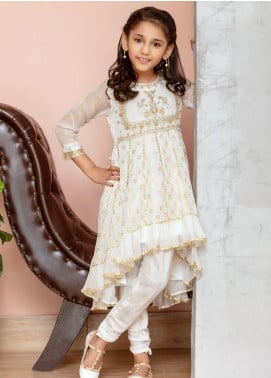 Chic Ophicial Chiffon Fancy 2 Piece Suit for Girls -  Mini White swan