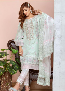 Chic Ophicial Embroidered Cotton Silk Stitched 3 Piece Suit Mintgreen Blockprint