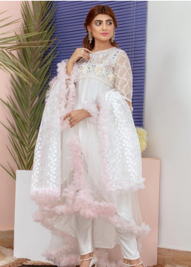 Chic Ophicial Embroidered Net Stitched 3 Piece Suit Numeru Uno White