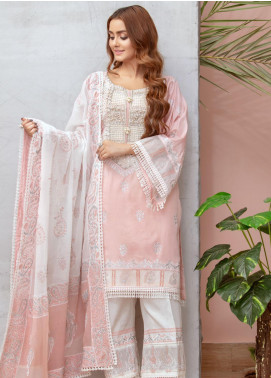 Chic Ophicial Embroidered Cotton Silk Stitched 3 Piece Suit Powder pink Block print