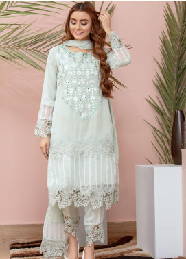 Chic Ophicial Embroidered Chiffon Stitched 3 Piece Suit Soothing Green
