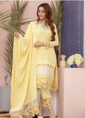 Chic Ophicial Embroidered Chiffon Stitched 3 Piece Suit Sunlight