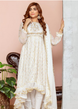 Chic Ophicial Embroidered Chiffon Stitched 3 Piece Suit White Swan
