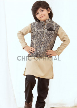 Chic Ophicial Wash N Wear Fancy 3 Piece for Boys -  Batik effect