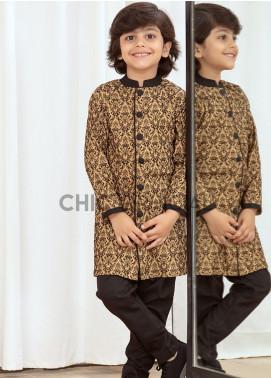 Chic Ophicial Cotton Fancy Kameez Shalwar for Boys -  Brown Block Sherwani