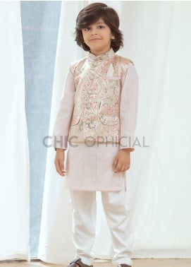Chic Ophicial Cotton Fancy 3 Piece for Boys -  Pink abstract