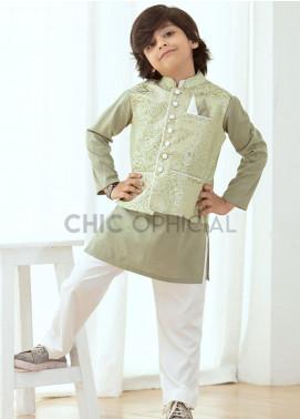 Chic Ophicial Wash N Wear Fancy Boys 3 Piece -  Sage Green