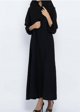 Hijab ul Hareem  Abayas Circular Collar Black Stylish Abaya 0117-P