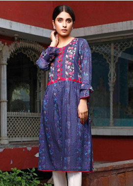 Zaibunnisa Printed Lawn Stitched Kurtis ZN20CL 06-Whimsical Blues