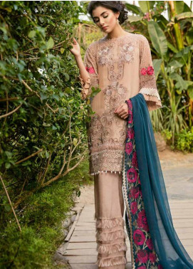 Coir Embroidered Chiffon Unstitched 3 Piece Suit CO18C 08 - Luxury Collection