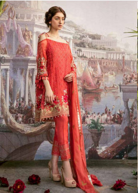 Coir Embroidered Chiffon Unstitched 3 Piece Suit CO18C 09 - Luxury Collection