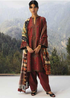 Coco By Zara Shahjahan Embroidered Cambric Unstitched 3 Piece Suit CZS20W 01A - Winter Collection