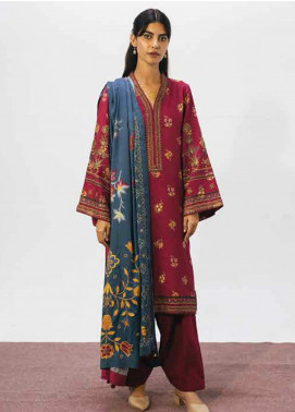 Coco By Zara Shahjahan Embroidered Linen Unstitched 3 Piece Suit CZS20W 03B - Winter Collection