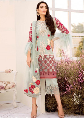 COIR Embroidered Chiffon Unstitched 3 Piece Suit CO19-C5 09 DELPHIC BLUES - Luxury Collection