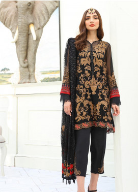 COIR Embroidered Chiffon Unstitched 3 Piece Suit CO19-C5 10 ERUMPENT ONYX - Luxury Collection