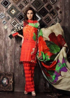 Charizma Embroidered Linen Unstitched 3 Piece Suit CR17W 06