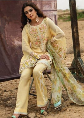 Crimson Embroidered Chiffon Unstitched 3 Piece Suit CR18F 2A - Luxury Collection