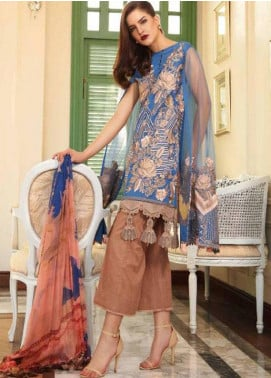 Charizma Embroidered Swiss Voile Unstitched 3 Piece Suit CR18S 05 AZURE DESIRE - Spring / Summer Collection
