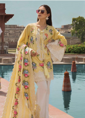 Crimson Embroidered Lawn Unstitched 3 Piece Suit CRM19F 1B LACEY SUMMER - Festive Collection