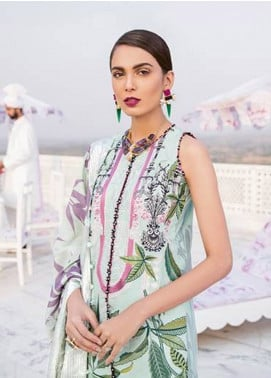 Crimson Embroidered Cambric Unstitched 3 Piece Suit CR18W 2B Varq - Seafoam - Winter Luxury Collection