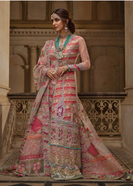 Crimson Embroidered Net Unstitched 3 Piece Suit CR19N 1B Sun Kissed Coral - Wedding Collection