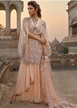 Crimson Embroidered Net Unstitched 3 Piece Suit CR19N 2B Coral - Wedding Collection