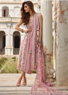 Crimson Embroidered Net Unstitched 3 Piece Suit CR19N 4B Salmon - Wedding Collection