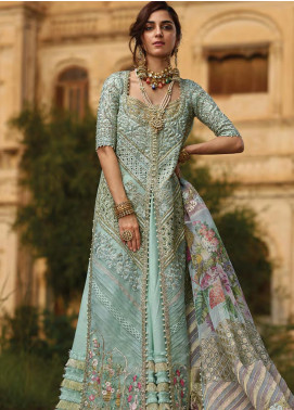 Crimson Embroidered Organza Unstitched 3 Piece Suit CR19N 5B Azure - Wedding Collection