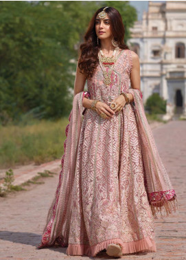 Crimson Embroidered Net Unstitched 3 Piece Suit CR19N 6A Blush - Wedding Collection
